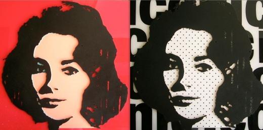 Liz Taylor Artbydorfs spin on a Warhol classic. Perspex, masonite. epoxy, wood, enamel paint composite assemblage